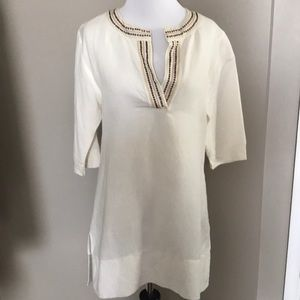 Blissliving Home Linen Tunic Cream Metal Grommets
